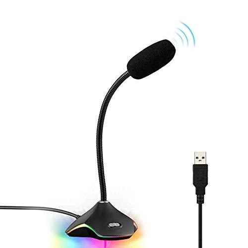 AZLMJXH Professional USB gaming microfoon voor PC desktop notebook bal condensator bedrade microfoon kleurrijke lichten