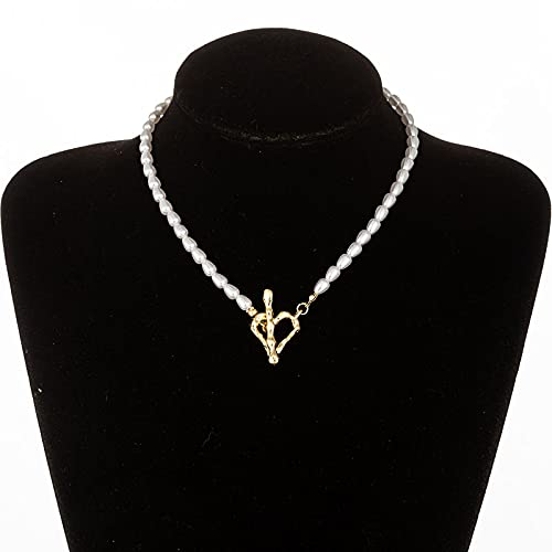 Collar Vintage Baroque Irregular Pearl Lock Chains Necklace Geometric Aangel Pendant Love Necklaces For Women Punk Jewelry N015Goldcolor