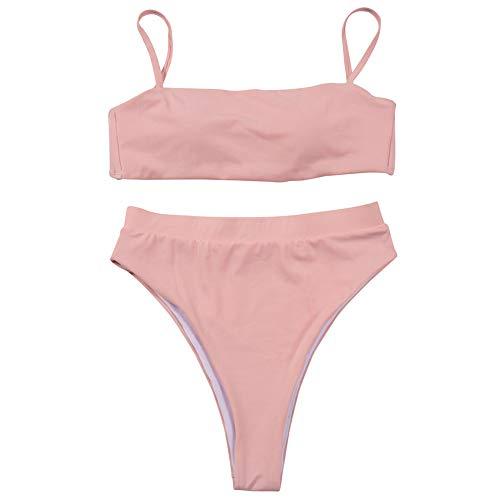Aiserkly 2020 Bikini-Sets, Zweiteilige Badeanzug Bikini Oberteil Mit High Waist Bademode Schwimmanzug Damen Bandeau Bandage Push-Up Brasilianische Badebekleidung Beachwear Badeanzug X-Rosa M