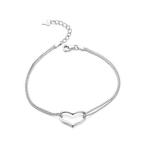 1 pulsera de plata de ley 925 para mujer con forma de corazón