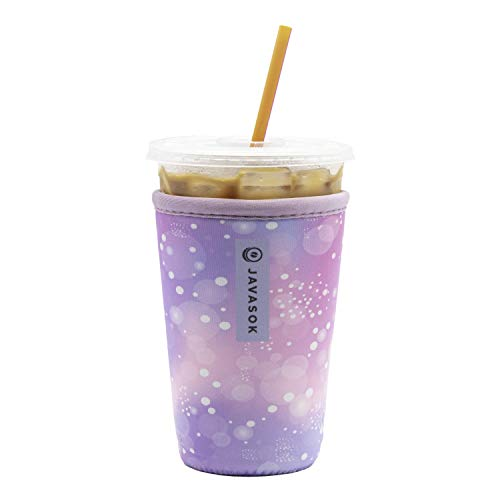 Java Sok Reusable Iced Coffee Cup Insulator Sleeve for Cold Beverages and Neoprene Holder for Starbucks Coffee, McDonalds, Dunkin Donuts, More (Ombre Galaxy, 22-28oz Medium)