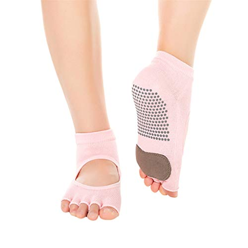 SEVENHOPE Frauen Half Toe Bio-Baumwolle Open Front Yoga Socken Rutschfeste Anti Skid Grip Socken (Pink)