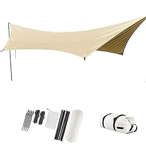 QJJML Camping Plane 4,5 × 5,5 m im Freien wasserdicht UV-Schutz Baldachin Zelt Tarp Shelter Strandzelt Regenschirm leichte Schatten Hängematte Plane für Picknick Wandern im...