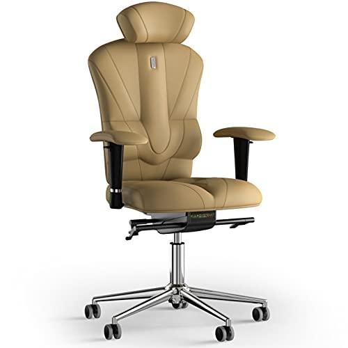 KULIK SYSTEM Victory - Silla de escritorio para ordenador con respaldo y cojín de asiento ergonómico patentado, silla de oficina ergonómica, piel sintética, color beige