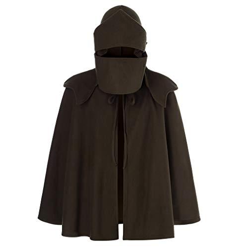 PKTOP Herren einfarbige Maske, unregelmäßiges Patchwork, lockere Fledermausärmel, mit Kapuze, Retro-Mantel Gr. XL, braun