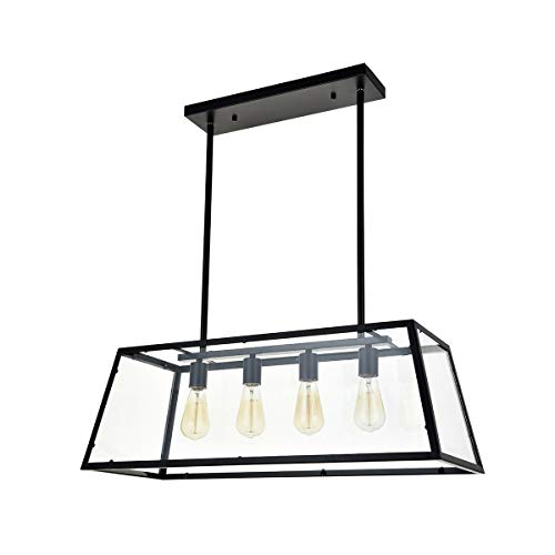 A1A9 Kitchen Island Pendant Lighting with 4-Light, Modern Industrial Chandelier Matte Black Frame with Clear Glass Panels Ceiling Lights for Foyer, Pool Table Light, Dining Room, Farmhouse, Club, Bar