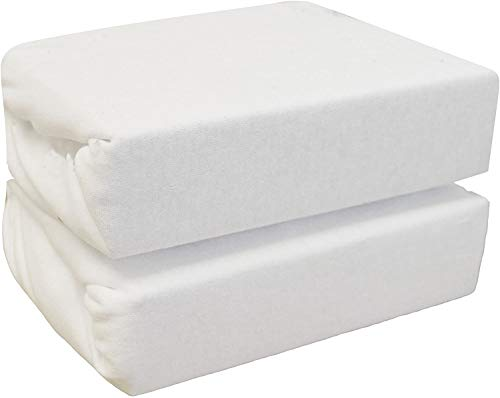 100% Organic Jersey Cotton Compatible with Next 2 Me Crib Baby Fitted Sheets Universal for Bedside Crib 2 Pack