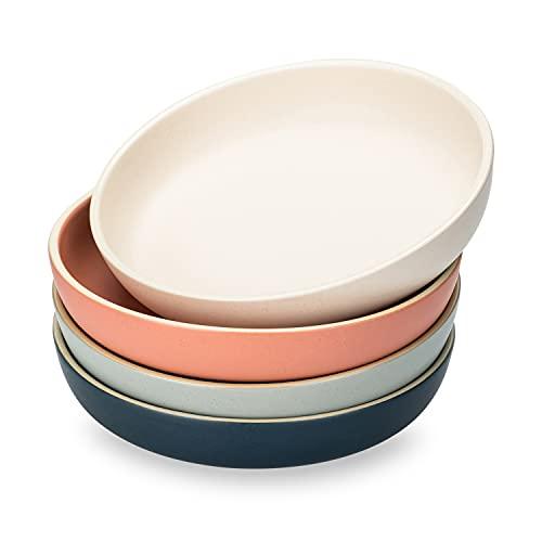 MDZF SWEET HOME 8-Inch Deep Porcelain Dinner Plates Set Pizza Pasta Bowls Matte Glaze Serving Plates Salad Dessert Bowls - 25 Oz - Set of 4