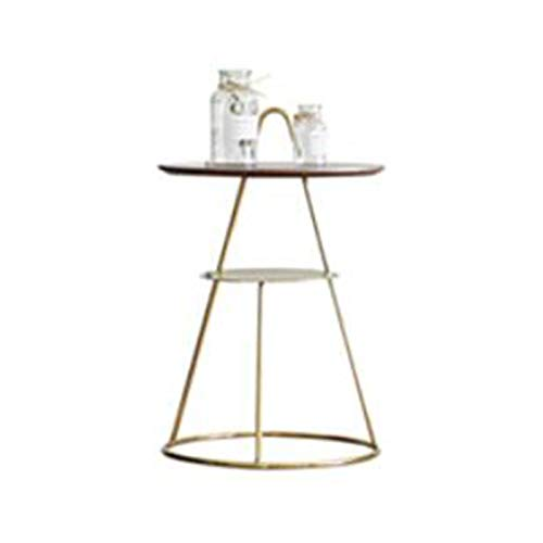 Jcnfa-side table Stainless Steel Titanium Plated Edge Table,The Bedside Function Small Table,2-tier Storage Design,Metal Handle Side Table(Size:23.22 * 14.96in,Color:Brass)
