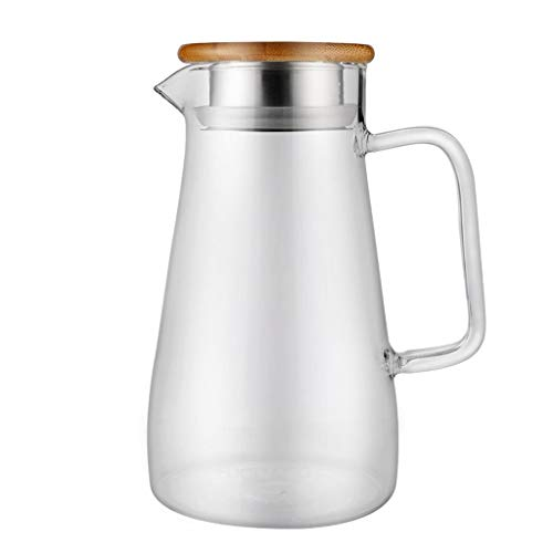 CXJJ Water Bottles With Times To Drink High Borosilicate Heat-resistant Glass Kettle, Juice Kettle, Coffee Kettle, Beverage Kettle, Cold Kettle, Hot Kettle, Bamboo Lid Home Restaurant Hotel