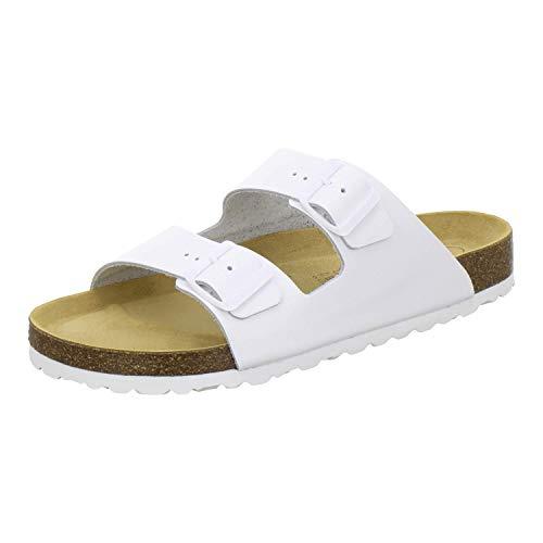 AFS-Schuhe 3100 Bequeme Pantoletten für Herren Leder, Hausschuhe Arbeitsschuhe, Made in Germany (41 EU, Weiß)