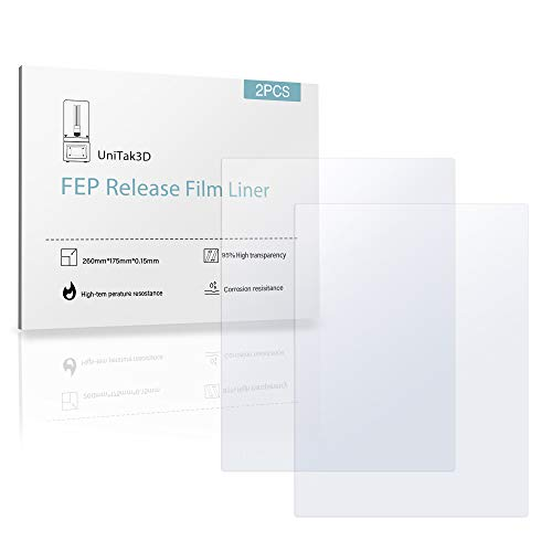 UniTak3D 2Pcs Película de FEP 260mmx180×0,15mm Accesorio de Impresora 3D para Anycubic MONO X, para Elegoo Saturn