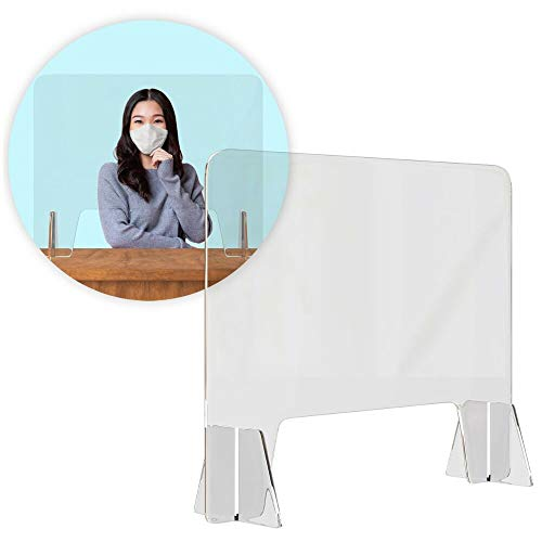Artnaturals Sneeze Guard Plexiglass Shield - 32' x 32' for Desk & Counter-Tops - Shatterproof Commercial Grade Acrylic Barrier - Freestanding Partition with Transaction Window for Offices, Salons Etc