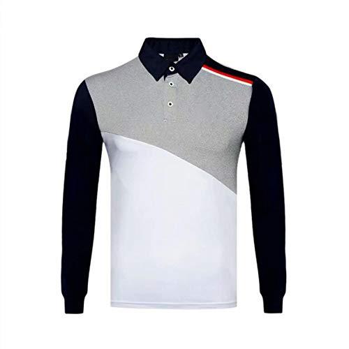 LGQ Golf T-Shirts Polo-Shirt Männer Atmungsaktive Farbe Block Top Outdoor Sport Casual Shirts Langarm Schnelltrocknende Golfkleidung,Sty2,XXL