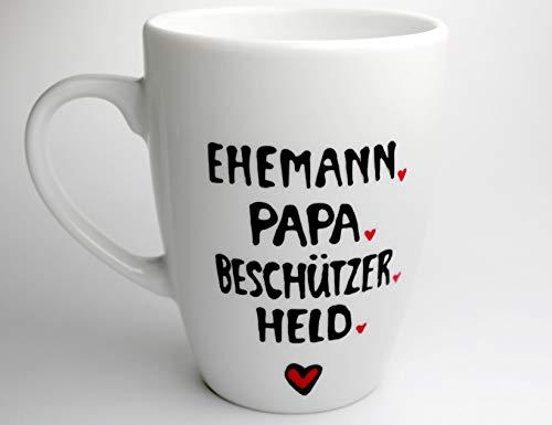 Papa Tasse als Danke Geschenk für den Beschützer, Ehemann, Held weisser Porzellan Becher handbeschriftet