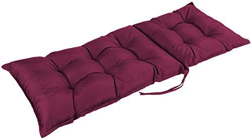 Wangle Cojín grueso para tumbona, respaldo alto, cojín para silla mecedora resistente a la intemperie, para relajantes vacaciones, patio, jardín, interior y exterior, 120 x 50 cm, 1 unidad, rojo vino