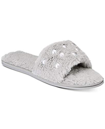Inc International Concepts. Pantuflas de piel sintética adornadas gris talla 7/8M
