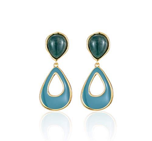 Pendientes gota de agua azul pendientes femeninos de plata esterlina 2020 nueva tendencia moda simple generosos pendientes retro