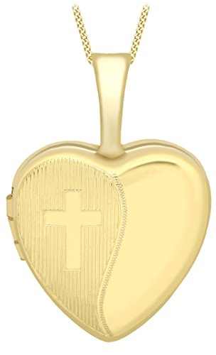 Carissima Gold Women's 9 ct Yellow Gold Small Etched Cross Detail Heart Locket on Curb Chain of Length 46 cm