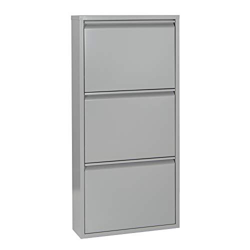 Betten-ABC Schuhschrank Amelie, modern, robust und platzsparend, aus pflegeleichtem Metall Größe Drei Klappen, Farbe Grau