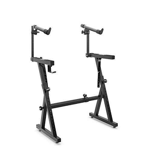 Heavy-Duty Multi-Functional Music Stand - Z Style & Portable Stand w/ 2nd Tier, Height & with Adjustment, Digital Keyboard Stand, Rack Case w/Ergonomic Design, for Home Studio etc. - Pyle PKST2TZ