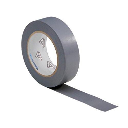 AUPROTEC 1 Rolle VDE Isolierband Isoband Elektriker Klebeband PVC 15mm x 10m DIN EN 60454-3-1 Farbe: grau