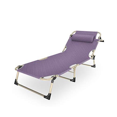 Fzw Chaise longue réglable en acier pour lit pliant (Couleur : Purple, taille : 194 * 94 * 32cm)
