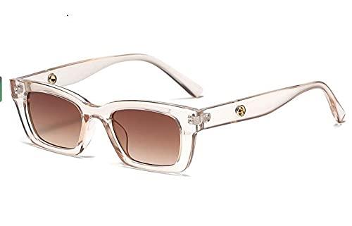 LOPIXUO Gafas de sol Nuevas gafas de sol rectangulares Vintage para mujer, gafas de sol con puntos retro, gafas de mujer para mujer, gafas de conductor de ojo de gato, té