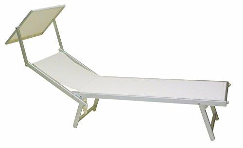 SF SAVINO FILIPPO Tumbona de aluminio para playa o piscina, color blanco