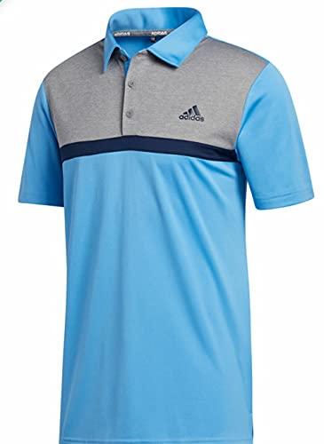 adidas Golf Colorblock Novelty Polo, Light Blue/Grey Three Melange, Large