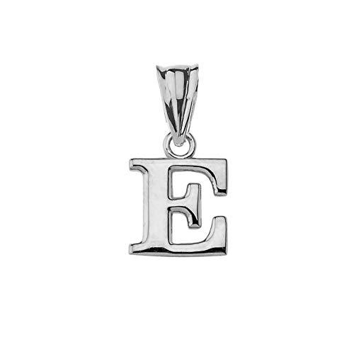 .925 Sterling Silver Fine Dangling Initial A-Z Charm 1/2' Pendant - Letter E
