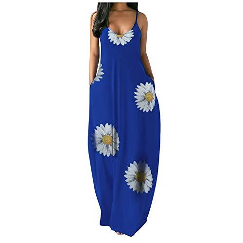 QIMANZI Vestidos De las m Mujeres Maxi Vestido Casual de Verano Rayas/Flores/Vestido de Tirantes con Estampado Tie-dye Vestidos Bohemio sin Mangas con Cuello en V(F Azul,XXL)
