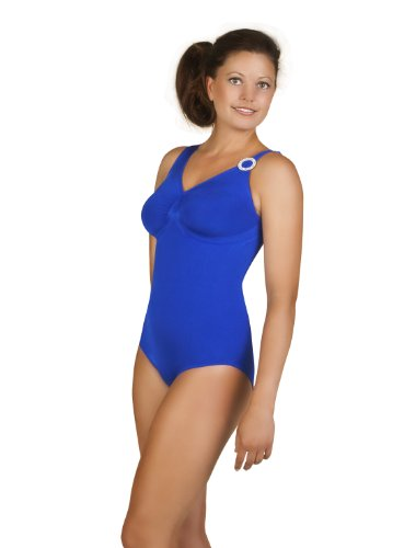 belly cloud Damen Badeanzug Badeanzug mit Strassring, Gr. 40/42 (L), Blau (royalblau)