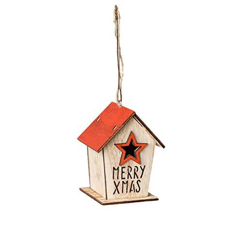 QianWen Miniature Wooden House Decorate Creative Christmas Tree Hanging Pendant Gifts Dollhouse Bonsai Craft Garden Resin Landscape DIY Villa Decor, Birthday Gift for Children Accessories