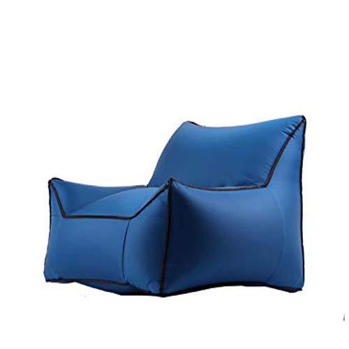 Zeerkeer Luftsoffa uppblåsbar solstol vattentät uppblåsbar soffa med förvaringsväska bärbar vattenflaska uppblåsbar lat bäddsoffa för camping, vandring, pool, strand, trädgård, resor (marinblå) S