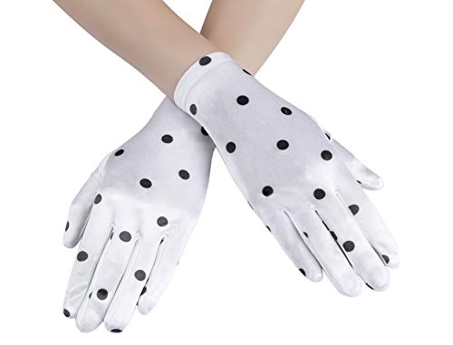 Coucoland Polka Dot Handschuhe Elegant Damen Sommer Handschuhe 1950s Stil Rockabilly Handschuhe Hochzeit Fasching Accessoires (Weiß)