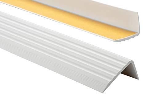 PVC Treppenkantenprofil Selbstklebend Winkelprofil Anti-Rutsch Treppenkante 41x25mm 0,9m, Hellgrau