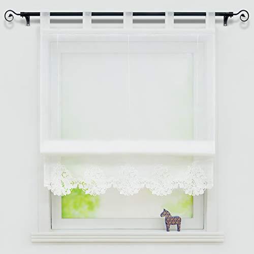 Yujiao Mao - Estor con cierre bordado (100 x 155 cm), color blanco