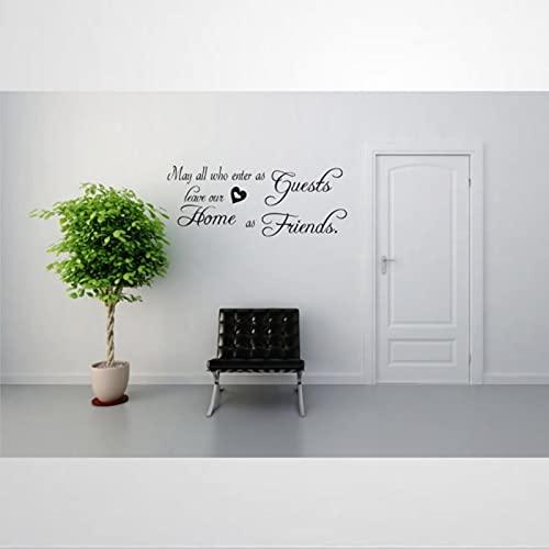 May All Who Enter As Guests Leave Our Home As Friends Calcomanía removible DIY Art Wall Art Mural Decoración de pared Decoración para el hogar bm257