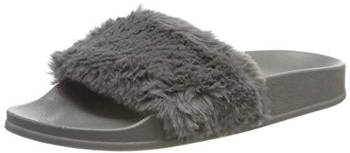 APIKA Damen Flip Flop Kunstpelz Slipper Fuzzy Fluffy Comfy Sliders Offene Zehe(EU 40 grau)