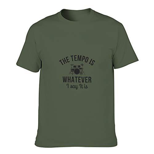 Camiseta de algodón para hombre con texto en alemán 'Das Tempo ist was ich ist ist ist was ich ist ist ist ist was ich ist ist ist verde militar L