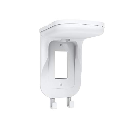 WALI Wall Bathroom Shelf Standard Vertical Duplex GFCI Décor Outlet for Cell Phone, Dot, Google Home, Speaker up to 20lbs with Cable Management and Detachable Hooks (OSH001-W), White