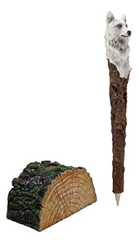 Ebros Medieval Fantasy Celtic Alpha Wolf Animated Hand Painted Pen with Rustic Tree Bark Holder Stand Figurine Animal Totem Spirit Accent Statue (White Direwolf)