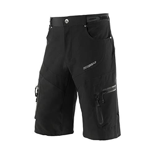 BERGRISAR Men's Cycling Shorts MTB Mountain Bike Bicycle Shorts Zipper Pockets 1806BG Black Size Large