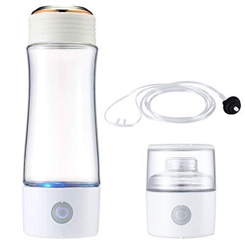 El hidrógeno botella de agua alcalina, rica en hidrógeno Copa 400 ml de agua ionizada portátil Generador de Agua, anti-envejecimiento para mantener la humedad corporal,Blanco