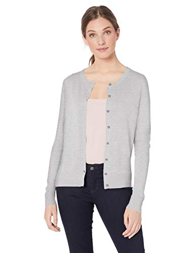 Amazon Essentials Damen-Strickjacke mit Rundhalsausschnitt, Grey (light grey heather), US S (EU S-M)
