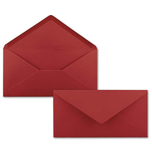 50 Brief-Umschläge Dunkel-Rot DIN Lang - 110 x 220 mm (11 x 22 cm) - Nassklebung ohne Fenster - Ideal für Einladungs-Karten - Serie FarbenFroh®