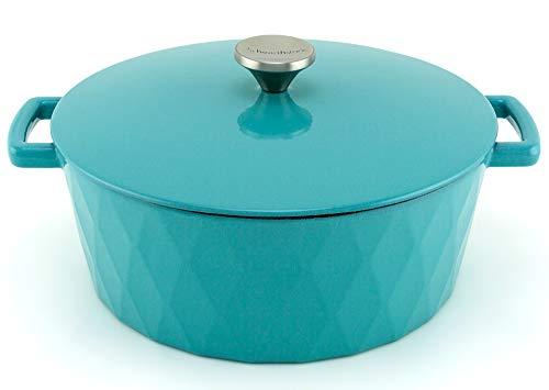 HearthStone Cocotte Diamond en fonte émaillée, turquoise, 28 cm, 6,9 l, pour toutes les surfaces, y compris l'induction et le four.
