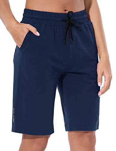 "BALEAF 10"" Lightweight Golf Bermuda Yoga Shorts for Women Cotton Pajama Lounge Shorts Workout Athletic Long Pocket Shorts Navy Size L"
