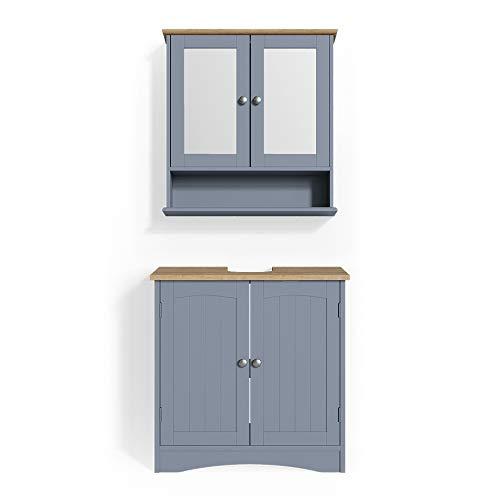 Vicco Badmöbel Set Bianco Spiegelschrank Waschtischunterschrank Badschrank Badezimmermöbel Set im Landhausstil (Grau, Set 1)
